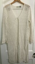 White Stag Kimono Sweater Womens Size 14 White Lace Long Leather Tie Summer