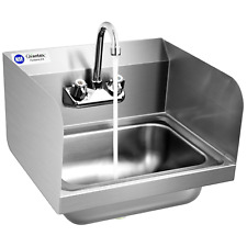 Stainless Steel Sink Nsf Wall Mount Hand Washing Sink With Faucet Amp Side Splash