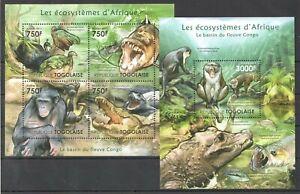 TG1012 2011 TOGO FAUNA WILD ANIMALS ECOSYSTEMS AFRICAN CONGO BL+KB MNH