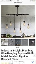 Industrial 6-Light Plumbing Pipe Hanging Exposed bulb Kitchen Pendant Light
