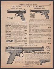 1956 BENJAMIN BB Gun Gas CO2 Air Pistol Vintage AD prices for 9 models shown