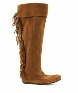 NEW MINNETONKA BROWN OVER THE KNEE SUEDE FRINGE BOOTS SHOES SIZE 11