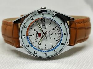 Seiko 5 Automatic Day/Date Railway Time White Color Dial Men's Wrist Watch Run