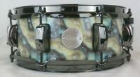 Click Drums Custom 5x12 Blue Plasma Wrap 10ply Maple Snare Drum