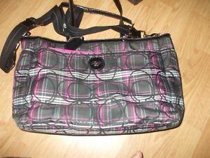 Coach pink black metallic swirl white tote beach diaper bag shoulder bag #163