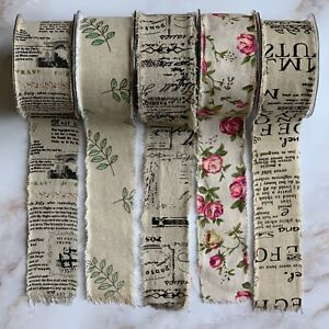 Vintage Print Old Newspaper / Rose / Leaves Raw Edge Frayed Burlap Ribbon 50mm