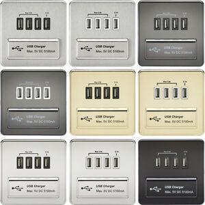 Knightsbridge 230V Screwless 1 Gang Quad USB 5V Charger Outlet Charging Plate