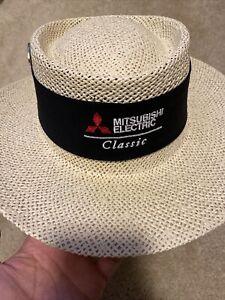Golf Straw Hat Mitsubishi Classic One Sz Fits Light Tan Black With 3 Pins Rare