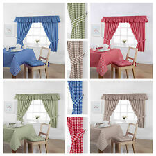 Gingham Unlined Pencil Pleat/Tape Top Curtains Inc Tiebacks - Free Delivery