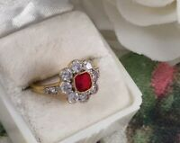 Antique Jewellery Gold Ring Ruby White Sapphires Vintage Deco Jewelry large