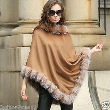 Women Real Cashmere  Poncho Genuine Fox  Fur Trim all around  Party  Camel