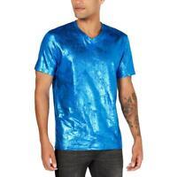 INC Mens Metallic V-Neck Short Sleeve T-Shirt Top BHFO 2389