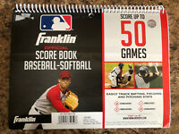 Franklin Official 50 Game Baseball Softball Scorebook, 16 Players & Pitch Count