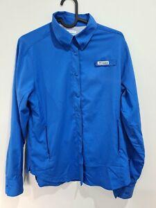 XS - Womens Columbia PFG Omni-Shade Blue Snap Button Longe Sleeve Shirt