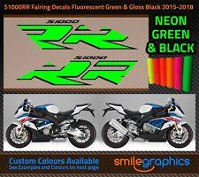 BMW S1000RR Fairing Decals. 2015-18 - Gloss Fluorescent Green & Black Stickers