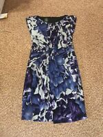 Suzi Chin for Maggy Boutique Sleeveless Purple Blue Floral Dress Size 8
