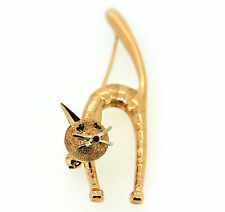 Rare Vintage Solid 18KT Yellow Gold UNO AR Arched Cat Pin Emerald & Rubies