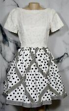 BILL BLASS EVENING White Black Short Sleeve Dress 10 Lace Bodice Dot Stripe Skrt