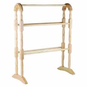 Wooden Floor Free Standing Towel Rail Rack 5 Bar Towel Rail Towel Holder Natural
