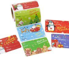 200Pcs Roll Christmas Gift Tags Holiday Santa Claus Self Adhesive Stickers