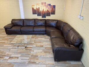 Exquisitely Large Brown Leather Corner Sofa