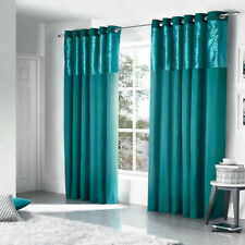 Teal Blue Savoy Faux Silk Velvet Diamond Lined Eyelet Top Ring Top Curtains Pair