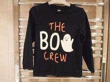 Long Sleeve Top -  Black 'The Boo Crew' age 4-5 Years - 100% cotton Glow in Dark