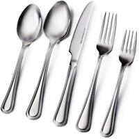 20 Piece Flatware Cutlery Set, 18/10 Stainless Steel Extra Thick Heavy Duty Set