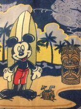 Disney Parks Disneyland Aloha Shirt Mickey Mouse Surfing Hibiscus Rayon Medium