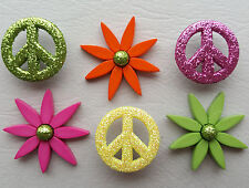 FLOWER CHILD Glitter Peace Sign Hippy CND Greenpeace Dress It Up Craft Buttons
