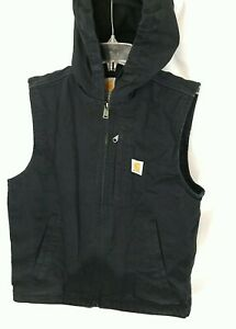 Carhartt Black Knoxville Fleece Lined Hooded Full-Zip Canvas Vest Mens S