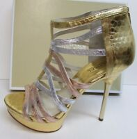 Michael Kors Size 6.5 Leather Gold Heels New Womens Shoes