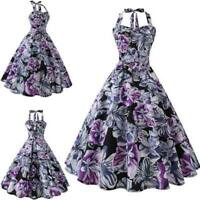 Summer Retro Swing Dresses Sleeveless halter Dress vintage Evening Party floral