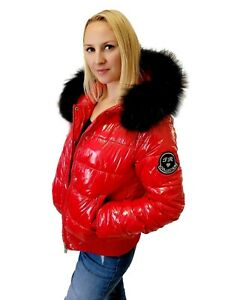 Women's Short Red Quilted Winter Jacket with Raccoon Fur Hood Trim Puffer Coat