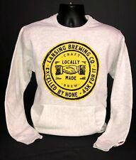 Lansing Brewing Company Heather White and Yellow Pocket Crew Neck Sweatshirt