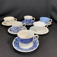 Lot 6 Vintage Shabby Blue Mismatched China Teacup Saucer Sets Tea Cup Lot Onion
