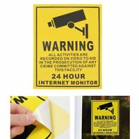 CCTV Surveillance Sign Security 24 Hour Warning Stickers Sign Monitor Camera