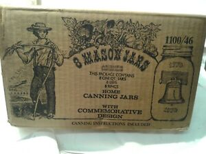 1976 NOS 8 MASON JARS BICENTENNIAL UNOPENED CASE QUARTS/rings lids Canning glass