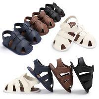 Toddler Baby Boy Crib Shoes Leather Soft Sole Sandals Anti-slip Prewalker 0-18M.