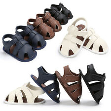 Toddler Baby Boys Crib Shoes Leather Soft Sole Sandals Anti-slip Prewalker B