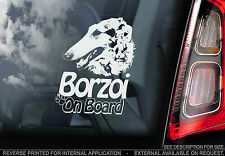 Borzoi - Car Window Sticker - Russian Wolfhound Dog Art Print Sign Gift