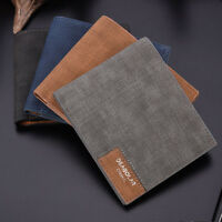 Vintage Men Leather Wallet Billfold Canvas Bifold Purse Clutch Card Money Holder