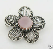Marcasite Sterling Silver Open Work Pink Mother of Pearl Flower Brooch Pin