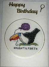 Birthday Card Cards Completed Cross Stitch Toucan Naughty Forty