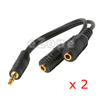 2pcs 3.5mm Stereo Male to Dual Female Aux Audio Extension Splitter Y Cable Cord