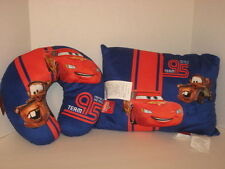 Disney Pixar Cars Travel Neck Pillow + Decorative Pillow McQueen Mater Blue NWT