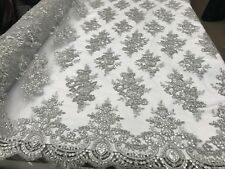 Silver Flower/Floral Embroider Mesh Lace Fabric By Yard/ Tablecloths/Runners/