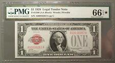 1928 $1 Legal Tender Note, PMG graded CU66 * EPQ, Fr#1500, Star Quality