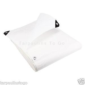 White Heavy Duty Tarpaulin 200GSM Waterproof Ground Sheet Boat Cover Tarp