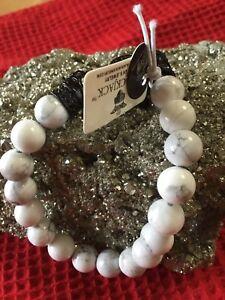 Mens Genuine Howlite Beaded Bracelet With Black Cubic Zirconia BLACKJACK Was$119